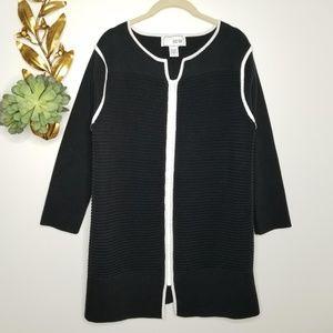 Joan Vass Cardigan Sweater Tunic Zip Front M